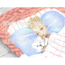 Nap Time for Baby Groot mini print of color pencil by Elaine C. Oldham