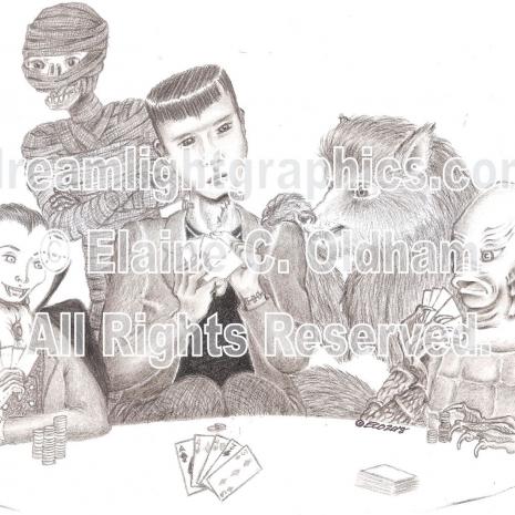 Poker at Drac's mini print of pencil drawing by Elaine C. Oldham