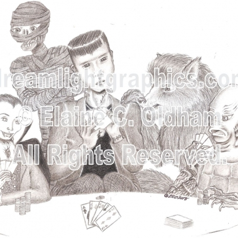 Poker at Drac's poster print of pencil drawing by Elaine C. Oldham