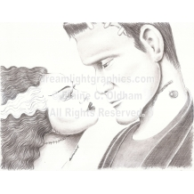 The Bride and Her Monster mini print of pencil drawing by Elaine C. Oldham