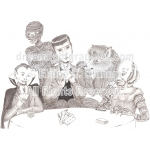 Poker at Drac's mini print of pencil drawing by Elaine C. Oldham