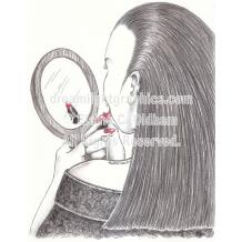 Vamping mini print of pencil drawing by Elaine C. Oldham
